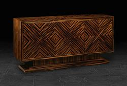 Three Door Credenza in Quartered Macassar Ebony