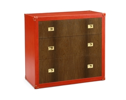 Leather Covered Chest With Veneered Drawers