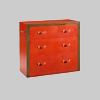 Leather Covered Chest With Leather Covered Drawers
