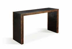Leather Covered Contemporary Console Table