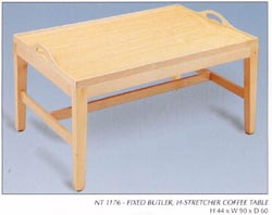Fixed Butler, H-Stretcher Coffee Table