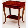 2-Tier Lamp Table with Out swept Legs in Burr Elm