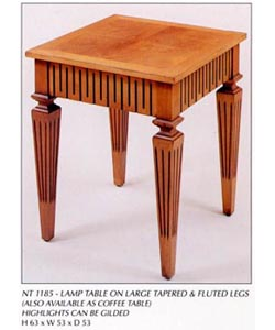 Lamp Table on Large Tapered & Fluted Legs