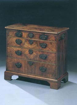 George II Chest in Walnut on Bracket Feet