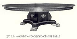 Walnut and Gilded Centre Table