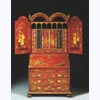 Bureau Cabinet in Red Chinoiserie Finish