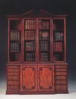 Mahogany Break Front Bookcase