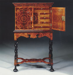 William and Mary Oyster Walnut Cabinet on stand