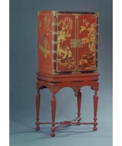 Red hand painted Chinoiserie Cabinet on Stand