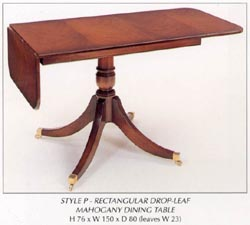 Rectangular Drop-Leaf Mahogany Dining Table